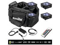 EUROLITE 4er-Set AKKU Flat Light 3 schwarz + Soft-Bag+Ladegerät