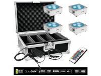 EUROLITE 4er-Set AKKU Flat Light 3 silber inkl. Case+Ladegerät