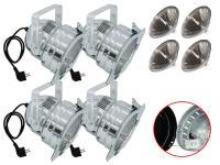 Scheinwerfer-Set 4xPAR-56 Pro Short alu inkl. Leuchtmittel NSP/T