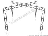 ALUTRUSS Bilock BQ2 2-Punkt X-Messestand vertikal 3,71x3,71x2,5
