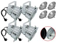Scheinwerfer-Set 4xPAR-56 Pro Short alu inkl. Leuchtmittel WFL/T