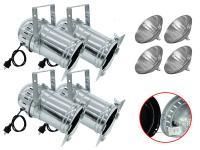 Scheinwerfer-Set 4xPAR-56 Profi Spot alu m. Leuchtmittel WFL/T