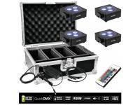 EUROLITE 4er-Set AKKU Flat Light 3 schwarz inkl. Case+Ladegerät