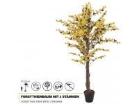 EUROPALMS Forsythienbaum mit 3 Stämmen Kunstpflanze gelb 150 cm