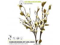 EUROPALMS Kamelien-Bogen weiß künstlich 50cm mit 100 LEDs