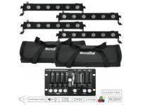 EUROLITE Set 4x LED BAR-6 QCL RGBW inkl. 2x Softbags+Controller