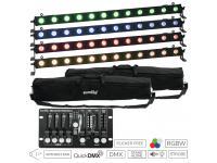 EUROLITE Set 4xLED BAR-12 QCL RGBW Leiste+2xSoftbags+Controller